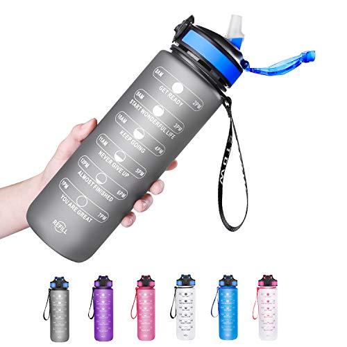 ETDW 1 Liter Tritan Trinkflaschen mit Strohhalme BPA Frei, 1L Wiederverwendbare Wasserflaschen mit Zeitangaben, 1000ml GroßE Sportflasche mit Starkem Griff für Sport, Fitness, Freiluft GRAU