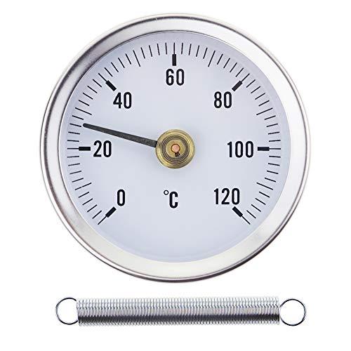 Thermometer für Heißwasserrohre, zum Aufstecken, 0-120 °C, 63 mm, mit Bimetallfeder, Oberflächenkontakt aus Edelstahl