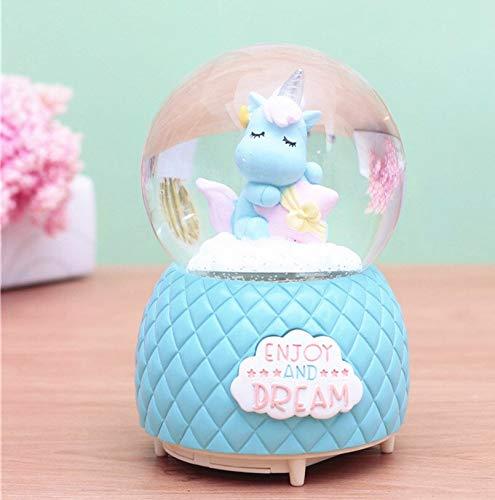 Musical Unicorn Snow Globe for Kids, 100mm Resin Glitter Music Box with Multiple Tunes, Gift for Girls - Blue 6