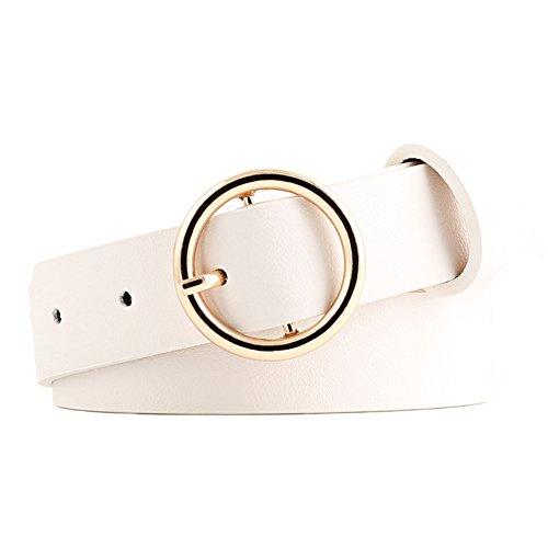 Demarkt Ledergürtel schmaler Damengürtel Damen Gürtel mit rund Schnalle 105CM (Weiß)