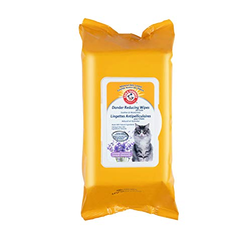 Arm & Hammer Dander Reducing Cat Wipes | 100 Count Lavender Scent Cat Dander Wipes for All Cats with Baking Soda to Soothe and Moisturize | Cat Wipes Made with Advanced Odor Control