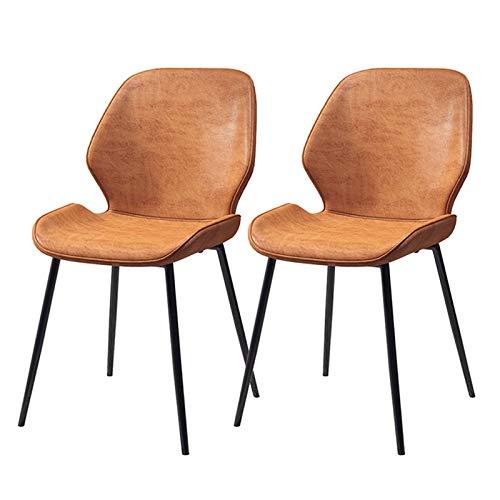 WWL Comedor Oficina sillas Juego 2 Comedor Sillas Inicio Postmoderno Minimalista Estilo Nórdico Cuero Americano Hierro Taburete Comedor Lujo Creativo Sillas Cocina sillas de Comedor tapizadas Tela