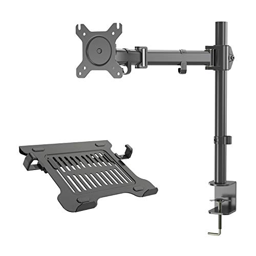 Gibbon Mounts Single Monitor Desk Mount Fit Full Motion VESA 75X75 or 100X100 Monitors with Free Removable Strong Steel Tray for Laptop 13' to 17'