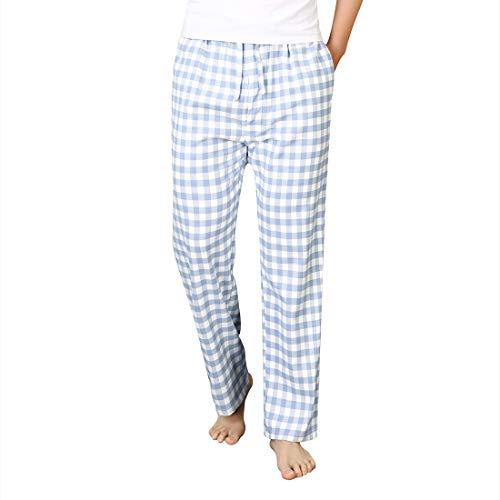 Durio Schlafanzughose Herren Lang Kariert Gestreift Pyjamahose für Herren aus Baumwolle Schlafanzug männer lang Hose Herren Nachwäsche Herren Blauweiß kariert 31