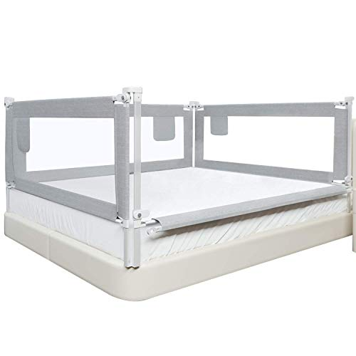 SURPCOS Bed Rails for Toddlers -New Upgraded Extra Long Bed Guardrail for Kids Great Fit for California King Size Beds, 1 x 70.86 Inches & 2 x 82.86 Inches Grey