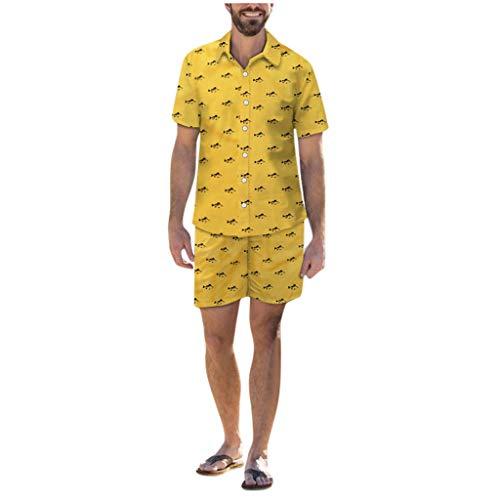 Preisvergleich Produktbild serliyHerren Lustig Print Hawaiian Shirt Lässige Kurzarm-T-Shirts Outfits Urlaub Kleidung Button Hawaii Aloha Kleidung+Badeshort Freizeit Kurze Sommer Strandshorts 3D Druck Swim Trunks Anzüge & Sets