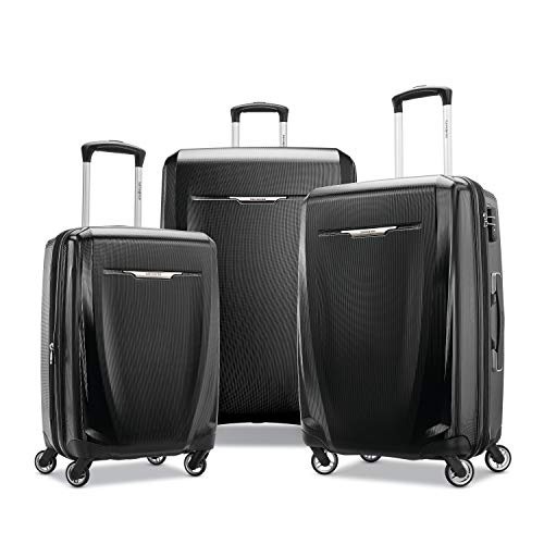 Samsonite Winfield 3 DLX Hardside Expandable Luggage with Spinners, Black, 3-Piece Set (20/25/28)