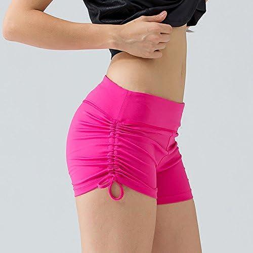MAYUAN520 courte Sport courte Femme Femmes tirant des Cordes Le Long courte Yoga Couture Taille grand Taille de Remise en Forme Formation Bas noir Rose,Rouge,XL
