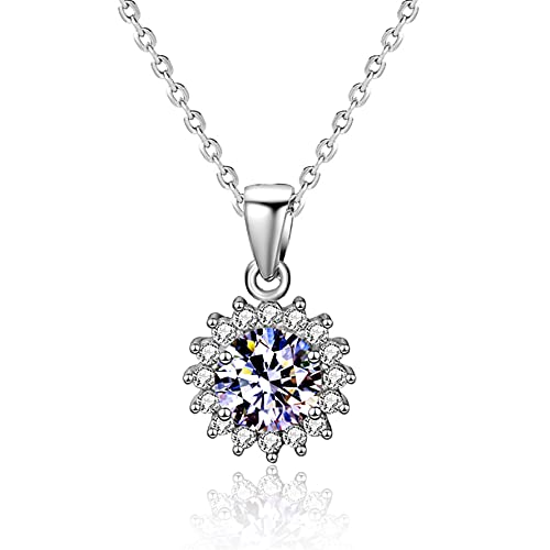 Yope RI - Collar con colgante de diamante de 1 quilate para mujer con certificado GIA de diamante real con forma redonda, colgante de oro blanco de 18 quilates, joyería fina (certificado GIA D/VVS1)