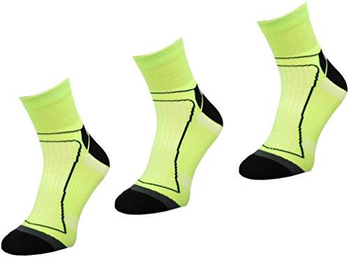 Comodo 3 Paar Fahrrad-Socken | Damen/Herren | Funktionssocken | Bike | Mountainbike | Rennrad | Sport | Radfahren | Biking | BIK1, Farbe:Neon/Yelow, Größen:43-46