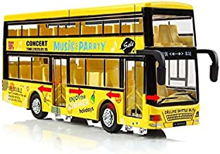 Bus Pull Back Cars Alloy Double Decker School Bus Construction Vehicles Mini Model Car Toys Light Kids Boys Girls Toddlers...