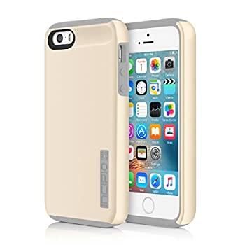 iPhone SE 5S 5 Case Incipio iPhone SE 5S 5 Case DualPro Shockproof Hard Shell Hybrid Rugged Dual Layer Protective Outer Shell Shock and Impact Absorption Cover - Champagne/Grey