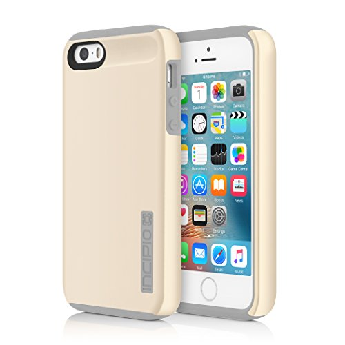 iPhone SE 5S 5 Case, Incipio iPhone SE 5S 5 Case DualPro Shockproof Hard Shell Hybrid Rugged Dual Layer Protective Outer Shell Shock and Impact Absorption Cover - Champagne/Grey