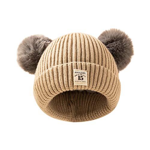 Topgrowth - Gorro de invierno para niña, con ganchillo, gorro de punto para niño, cálido, doble pompón de pelo, unisex amarillo Talla única