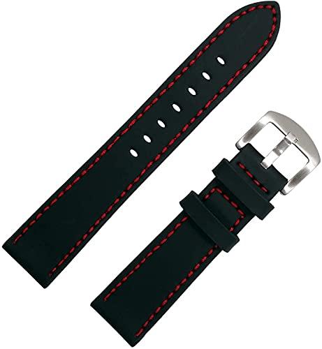 Chtom Reloj de Deporte a Prueba de Agua Correa de Reloj de Silicona Banda de Reloj de Goma 22 mm 24 mm Despliegue de Cierre 6 Colores (Color : Brown, Size : 22mm)