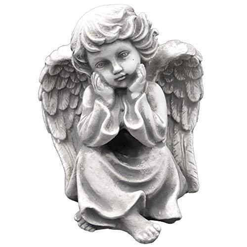 gartendekoparadies.de Massive Steinfigur Liebevolle Engel Figur aus Steinguss Gartenfigur frostfest Grabdeko