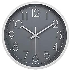"JoFomp Silent Wall Clock, 12"" Non-Ticking Quartz Battery Operated Decorative Wall Clocks, Modern Style for Living Room Bathroom Kitchen School Office - Thicken ABS Frame HD Glass Cover (Grey)"