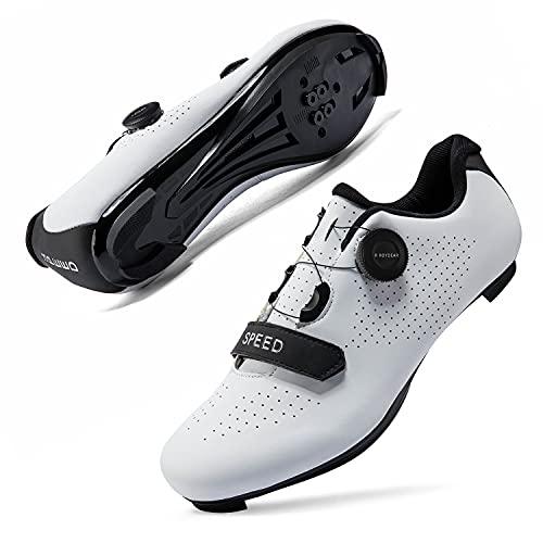 Mens or Womens Road Bike Cycling Shoes Peloton Bike Shoes Compatible SPD Riding Shoe Indoor/Outdoor Size Men's 5.5/Women's 7.5 White