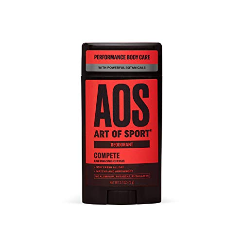Art of Sport Men's Deodorant - Compete Scent - Aluminum Free Deodorant for Men with Natural Botanicals Matcha and Arrowroot - High Performance Formula for Athletes - Goes on Clear - 2.7oz