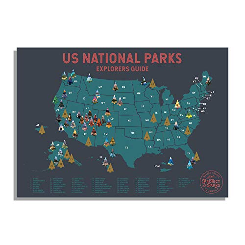 "USA National Park Scratch Off Map (24"" x 17"") - Interactive Travel Map - Scratch-Off Poster Reveals Images of All 62 US National Parks - Travelers Gift - Traveler Wall Decor"