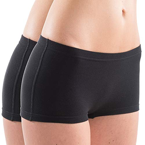 HERMKO 5700 2er Pack Damen Panty aus anschmiegsamer Baumwolle/Elastan, Farbe:schwarz, Größe:40/42 (M)