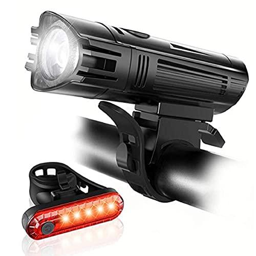 Leytn Luz Bicicleta Recargable USB, LED Luces Bicicleta Delantera y Trasera Impermeable, 4 Iluminación Modos Luz Bicicleta Delantera para Carretera y Montaña Actividades de Ciclismo al Aire Libre