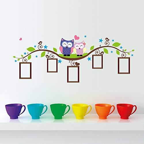 Wandtattoo Zwei süße Eulen auf einem Zweig - Wandbild: 133x52 cm - Kinderzimmer, Schlafzimmer und Wohnzimmer Wandsticker in PVC