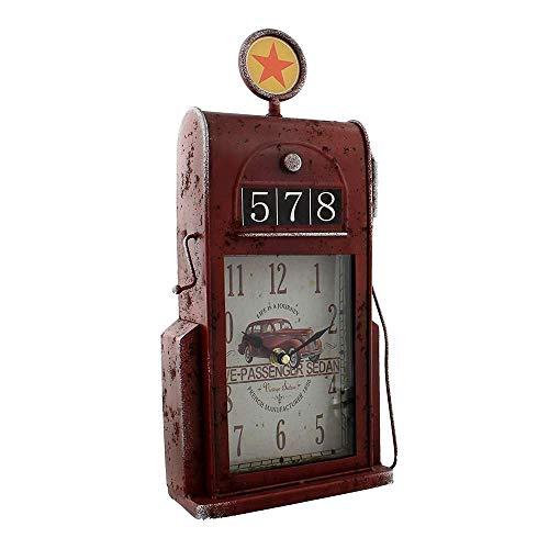 Hometime Metal Mantel Clock - Retro Style Petrol Gas Pump