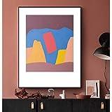 wtnhz Sin Marco Resumen Montañas Coloridas Bloque de Color Lienzo Pintura Cartel de Estilo Moderno Decoración de la Sala Cartel geométrico Abstracto