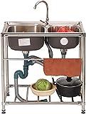 Fregadero comercial para catering, lavabo de acero inoxidable, fregadero para verduras, kit todo en uno, fregadero para lavar a mano, cuenco individual con grifo de agua fría y caliente para exterio