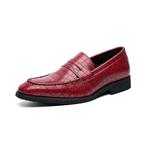 Zapatos casuales Zapatos de cuero para hombre, punta de goma de punta redonda de punta en relieve, malla de cuero sintético de costura de color sólido (Color : Red, Size : 40 EU)