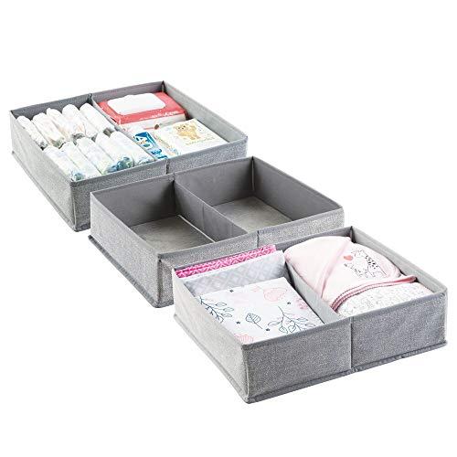 mDesign 3er-Set Baby Organizer mit je zwei Fächern – große Aufbewahrungsbox für Windeln, Feuchttücher, Accessoires etc. – ideal als Spielzeug Aufbewahrung – grau