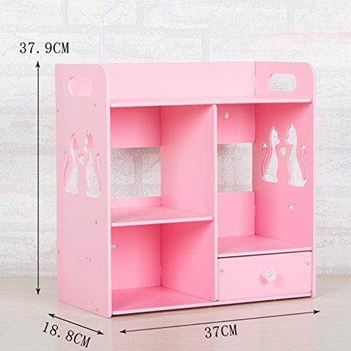 Boîte de rangement de salle de bains cosmétiques Soins de la peau de bureau Table de lavage Articles de toilette Tiroir d'étagère de salle de bain étanche Bricolage (couleur : Rose)