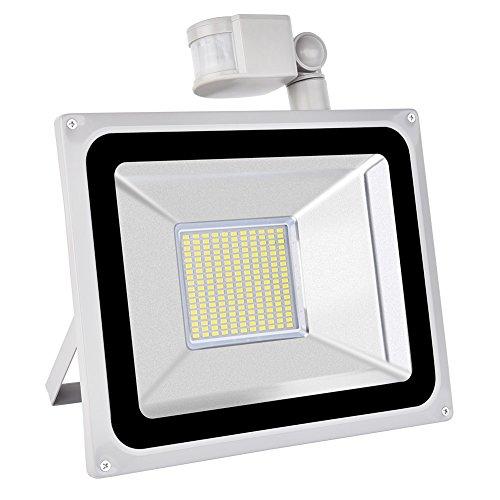 TEquem Kaltweiß 100 Watt LED SMD Flutlicht Strahler mit PIR Bewegungsmelder Fluter 220V Außenleuchte Wandstrahler Außenstrahler IP65 6000K-6500K