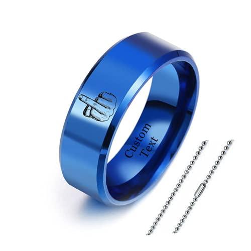 ForeverWill Anillo de acero inoxidable para hombre y mujer, anillo de dedo con cadena, divertido regalo de San Valentín para él y sus amigas, tamaño 6-12, Acero inoxidable,