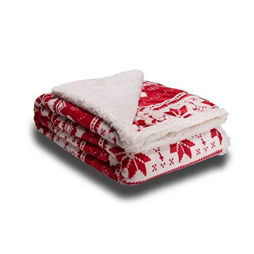 Apiando Christmas Kuscheldecke Rot 150 x 200cm, Flauschige Plüsch Decke, extra weich & warm, Wohndecke Flanell Fleecedecke als Sofadecke & Couchdecke