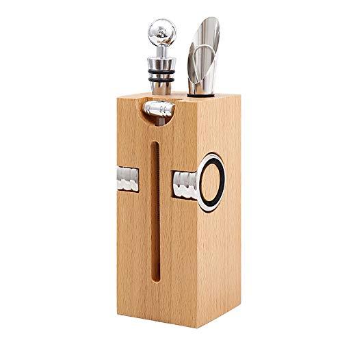 Abrebotellas de vino manual con mango de acero inoxidable, juego de 5 piezas para abrir botellas de vino con caja de madera