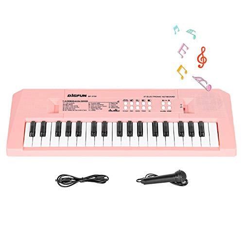 Shayson Klavier Keyboard Für Kinder, Multifunktions Digital Piano 37 Tasten Elektronische Klaviertastatur mit Mikrofon & Netzteil, Kinder und Einsteiger(Rosa)