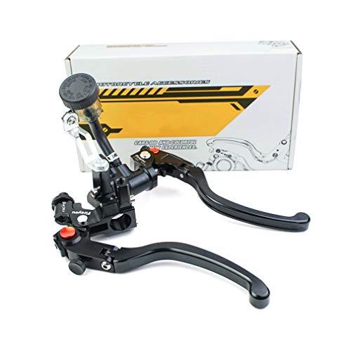 Kupplungshebel Motorrad brems CNC Hydraulische Bremse Hauptbremszylinder Verstellbares klappbares Rennrad RCS 17.5 Hauptbremszylinder Hebel 7/8 Zoll für 150 to 600CC - schwarz/Paar