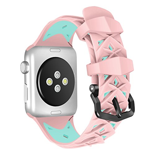 For Apple Watch Strap 42mm AISPORTS iWatch Strap 42mm Silicone Two-tone Design Smart Watch Band Replacement Strap Stainless Steel Bracelet Buckle Clasp Wrist Strap for 42mm Apple Watch Series 3/2/1