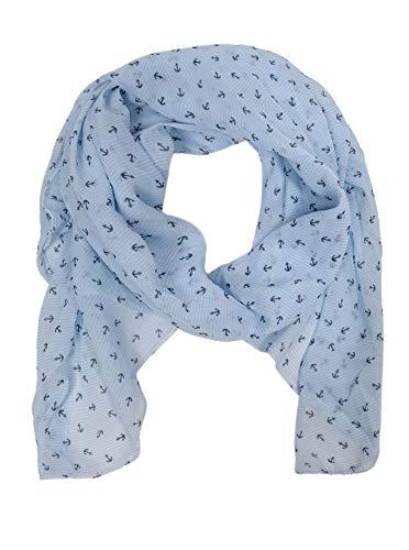 Zwillingsherz Seiden-Tuch mit Anker-Print - Hochwertiger Schal für Damen Mädchen - Halstuch...