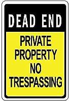 2個 行き止まりの私有財産立ち入り禁止のブリキの看板金属板装飾看板家の装飾プラーク看板地下鉄金属板8x12インチ メタルプレート レトロ アメリカン ブリキ 看板