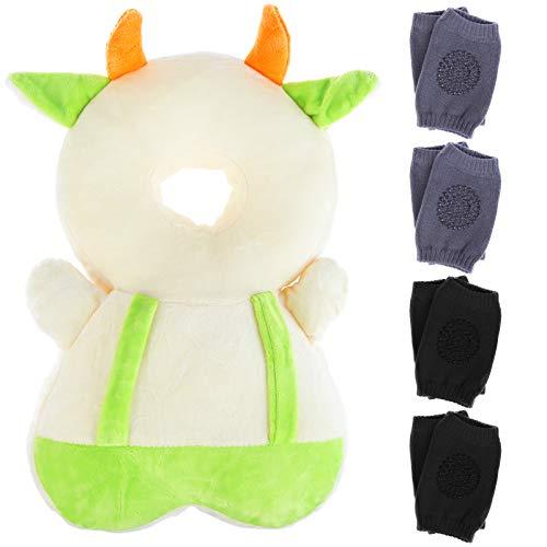 Baby Kopfschutz mit horizontalem Band, verstellbares Kopfpolster für Kinder, Rucksack, Rückenschutz, Kleinkind, Baby-Rucksack Kissen & 4 Baby Knieschoner zum Krabbeln und Gehen