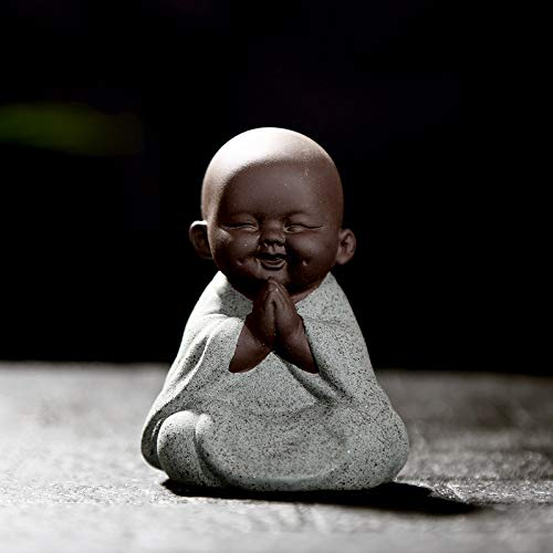 Kingzhuo Ceramic Cute Buddha Statue Monk Figurine Creative Baby Crafts Dolls Ornaments Gift Classic Delicate Ceramic Arts and Crafts Tea Accessories Small Adorable Gift Best Wishes Present