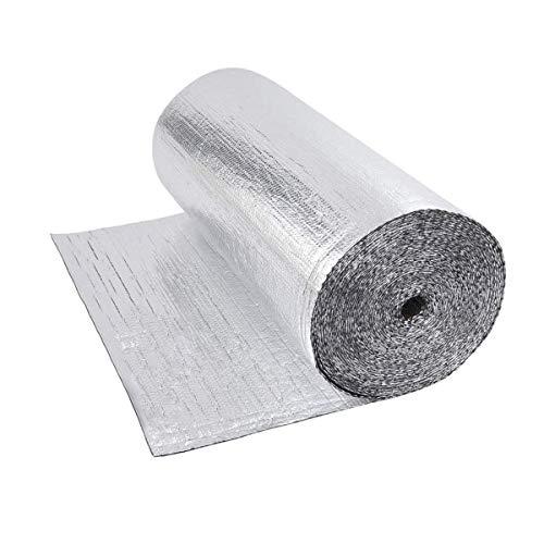 Dripex Isolant Thermique en Film Aluminisé a Bulles Double Face Isolation 3-4mm pour radiateur sol toit mur, reflecteurs de chaleur isolant thermoréfléchissant-0.6x10M