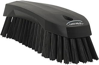 "Vikan 38909 Stiff Scrub Brush, Polypropylene, Polyester Bristle, 8"", Black"