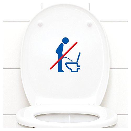 Grandora WC Deckel Sticker - Bitte im Sitzen pinkeln Schild I azurblau 11 x 12 cm I Piktogramm WC Bad Badezimmer Toilette Klodeckel Aufkleber W733