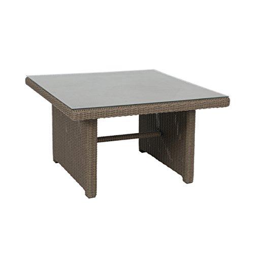 Ribelli tuintafel met glasplaat - rotan, bruin/grijs terrastafel eettafel tuinmeubelen tafel 110x65x110 cm