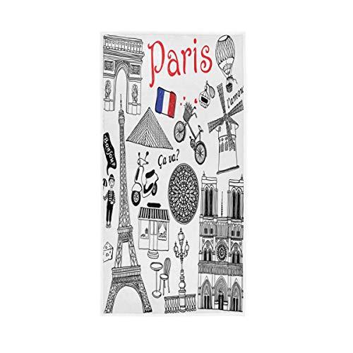 TropicalLife XIXIKO Handtuch mit Frankreich-Flagge, Paris, Sehenswürdigkeiten, weich, vielseitig einsetzbar, saugfähig, Handtücher für Badezimmer, Hotel, Fitnessstudio, Spa, 76,2 x 38,1 cm