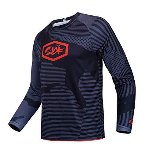 Downhill Cycling Jersey Men's Racing Jersey Long Sleeve MTB Cycling Clothing Mountain Bike Shirt, S-064, X-Large